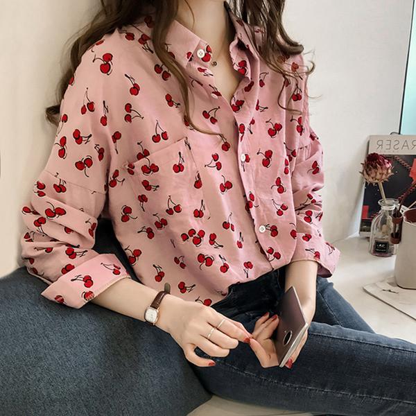 【藍色巴黎】 韓國時尚櫻桃花開襟排釦棉麻長袖襯衫/上衣 《2色》【28930】