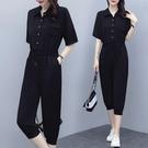 胖MM大碼女裝2021年夏新款韓版收腰顯瘦時尚休閑垂感連體褲套裝女