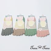 【Tiara Tiara】繽紛條紋色塊五指襪(粉紅趾/綠趾/灰趾/卡其趾)