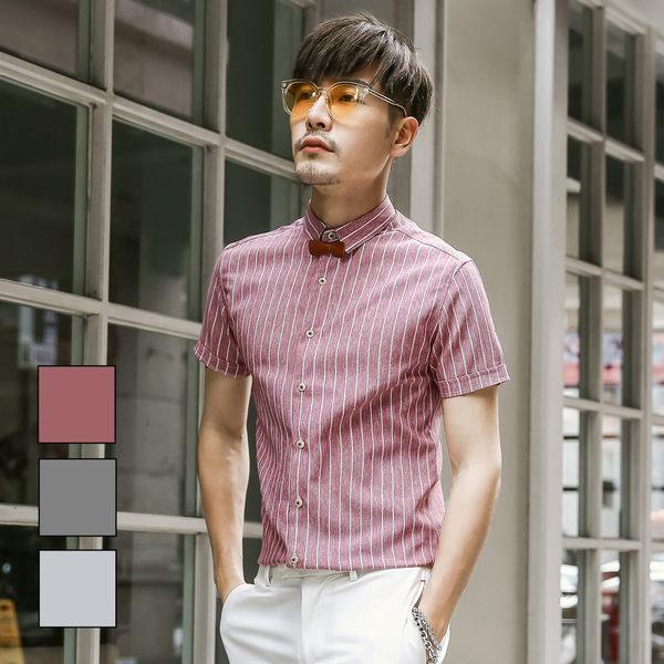 男 撞色/直條紋/窄版/短袖襯衫 L AME CHIC 仿舊刷白布紋直條紋窄版修身短袖襯衫【ETSS051801】