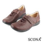 SCONA 全真皮 手工輕量舒適休閒鞋 咖啡色 22408-2