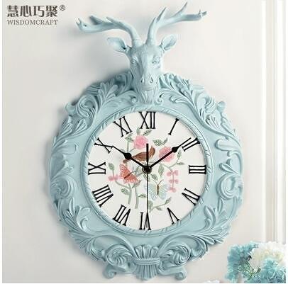 【衫衫來時】鹿頭時鐘掛鍾家用現代簡約大氣北歐靜音掛錶【淺藍色】