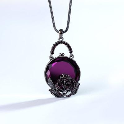 水晶毛衣鍊-鑲鑽玫瑰花情人節生日禮物女項鍊3色73gc80[時尚巴黎]