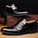 皮鞋男春夏季韓版青年套腳正裝商務休閒男士英倫亮皮結婚黑色男鞋子