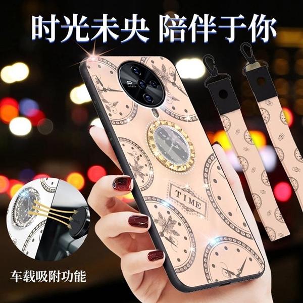 時尚鐘錶殼 Oppo ACE 2 手機殼 Oppo ACE2 奢華 鑲鑽 車載磁吸指環支架 保護殼 吊繩 手機保護套