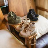 現貨出清童鞋兒童馬丁靴男韓版女童英倫風短靴皮面靴  K-shoes