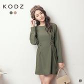 東京著衣【KODZ】歐膩氣息質感釦帶裝飾洋裝-M.L(191370)