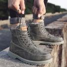 馬丁靴 冬季男鞋加絨保暖棉鞋馬丁靴男士中幫雪地靴加厚高幫工裝男靴子潮【快速出貨八折鉅惠】