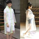 圓桌騎士磨砂透明長版雨衣雨披女成人戶外男式單人徒步雨衣學生