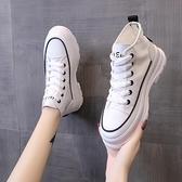 增高鞋 女鞋新款帆布高幫鞋百搭厚底松糕鞋秋季內增高小白鞋-Ballet朵朵