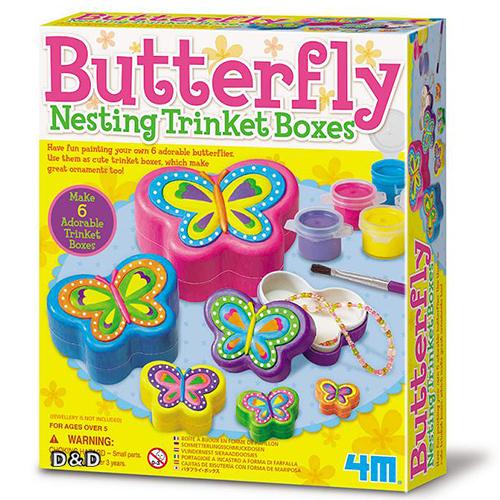 《4M美勞創作》彩繪蝴蝶珠寶盒 Butterfly Nesting Trinket Boxes╭★ JOYBUS玩具百貨