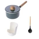 HOLA 琺瑯單柄調理鍋16cm-煙霧藍+湯勺+置物架