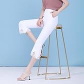 喇叭褲女夏季薄款2021新大碼墜感彈力顯瘦黑色蕾絲花邊微喇七分褲 果果輕時尚