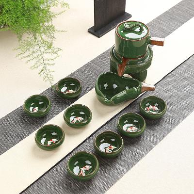 茶具 時來運轉自動套裝陶瓷家用冰裂整套茶盤功夫 - 古梵希