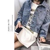 2020春秋新款韓版bf寬鬆蝙蝠袖短款夾克上衣網紅釘珠牛仔外套女潮  牛轉好運到