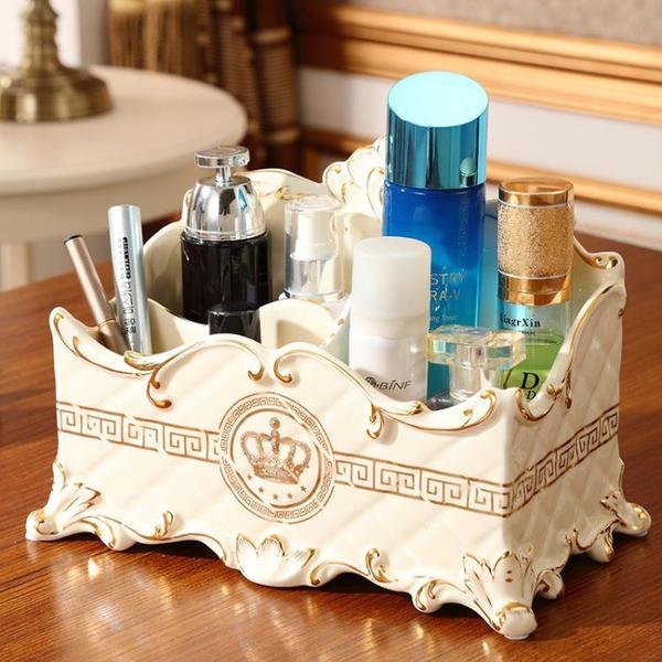 歐式創意化妝品收納盒家用桌面客廳手機遙控器整理盒