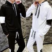【魔法QQ】套裝 韓版 英文抽繩休閒長袖上衣 長褲 兩件套 M140【預購】