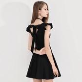 洋裝 黑色晚禮服女新款洋裝小禮服名媛晚宴派對短款生日連身裙顯瘦 全館 維多