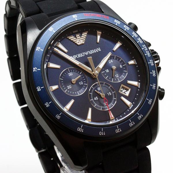 【萬年鐘錶】EMPORIO ARMANI SPORT 三眼 日期顯示 藍錶面 橡膠+不鏽鋼黑錶帶 44mm AR6121