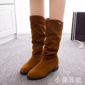 秋冬新款長靴韓版平底彈力襪子靴復古套腳中筒靴絨面長筒靴女 XN7842『小美日記』
