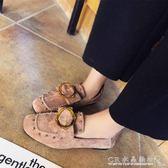 春季單鞋女鞋子復古歐美英倫絨面搭扣低跟鞋休閒女樂福鞋 『CR水晶鞋坊』