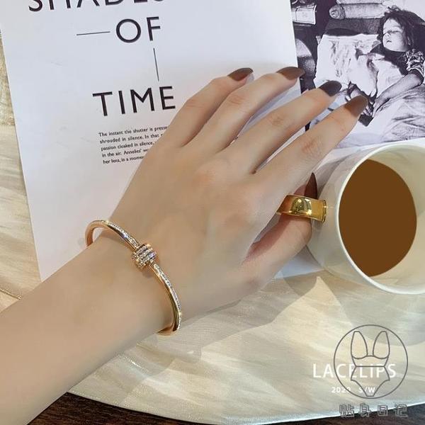 鈦鋼手鐲女不掉色鑲鉆鋯石輕奢高級感個性手鏈手環【貼身日記】