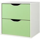 快速出貨 收納 格櫃 收納櫃 置物櫃【1432】CUBE魔術方塊雙抽收納櫃 多功能 MIT 台灣製 (綠)