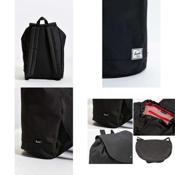 Hsin 85折 現貨 Herschel Supply Reid 黑色 全黑 帆布 防潑水 束口 磁扣 圓筒 後背包