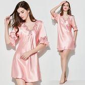 新款睡衣紡真絲短袖韓版蕾絲性感絲綢睡裙寬鬆大碼冰絲家居服 QQ1782『MG大尺碼』