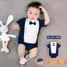 嬰兒連體衣純棉哈衣男寶寶三角爬服領結英倫短袖【淘嘟嘟】