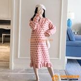 洋裝連身裙孕婦春裝連身裙孕婦裝春秋款愛心毛衣中長款荷葉邊魚尾裙【小桃子】