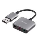TROND USB音頻適配器 USB Type A至3.5mm TRS和TRRS輔助插孔 耐折編織繩 [2美國直購]