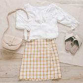 MUMU【T57119】女孩感輕柔V字荷葉領棉紡上衣