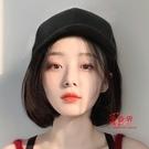 短假髮 帽子假髮一體女短髮夏天時尚長捲髮網紅自然圓臉波波頭全頭套式 4色
