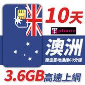 【TPHONE上網專家】澳洲10天無限上網 前面3.6GB支援3G/4G高速 贈送當地通話60分鐘