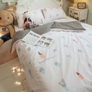 夏日粉仙人掌 Q3雙人加大床包+涼被4件組 四季磨毛布 北歐風 台灣製造 棉床本舖