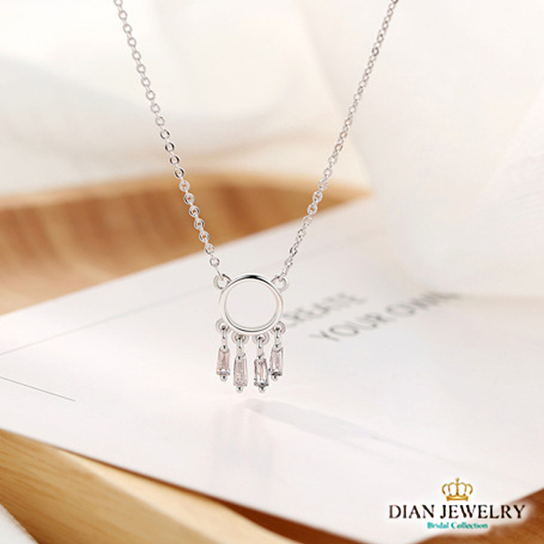 【DIAN 黛恩珠寶】印地安之夜 925純銀CZ鑽石項鍊(ST8451)