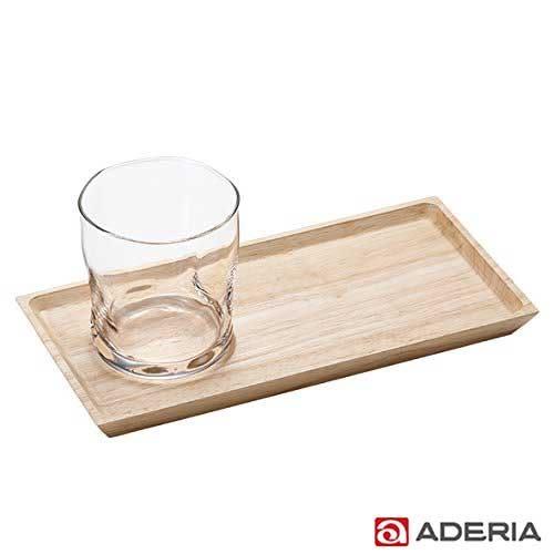 【ADERIA】日本進口好握玻璃杯附木托盤