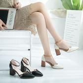 涼鞋百搭高跟鞋 粗跟尖頭包頭仙女鞋一字鞋【多多鞋包店】z8054