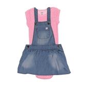 Carter s卡特 牛仔吊帶裙+短袖包屁衣 二件組 藍粉格 | 女寶寶套裝(嬰幼兒/兒童/小孩)