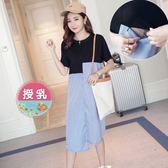*漂亮小媽咪*韓系 條紋 拼接 修身 顯瘦 哺乳裝 孕婦裝 哺乳衣 洋裝 B2526