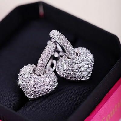 耳環 925純銀鑲鑽-奢華愛心生日情人節禮物女耳飾73du14[時尚巴黎]
