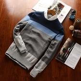 針織毛衣-圓領秋季顏色拼接純棉男針織衫6色73pg13【巴黎精品】