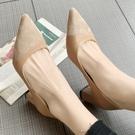 高跟鞋.時尚斜面拼接尖頭粗跟包鞋.白鳥麗...