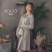 東京著衣【YOCO】甜氛少女荷葉邊綁帶雪紡長袖洋裝-S.M.L(182506)