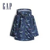 Gap男幼童趣印花拉鍊連帽外套541995-藍灰色