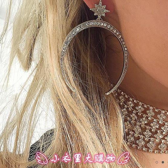 耳環 歐美夸張大月牙鑲鉆女士耳環 Ms diamond earrings - 小衣里大購物