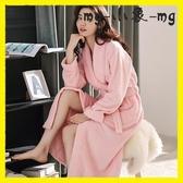 MG 睡袍法蘭絨浴袍加厚加長款晨袍睡衣家居服