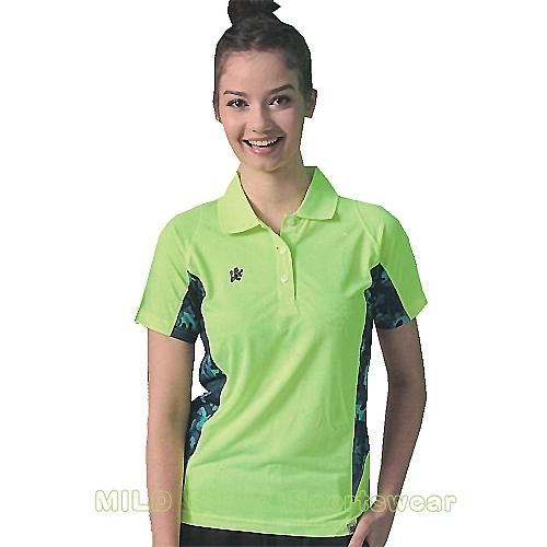 MILD STAR 女版吸濕排汗短POLO衫-LS180899-螢綠迷彩