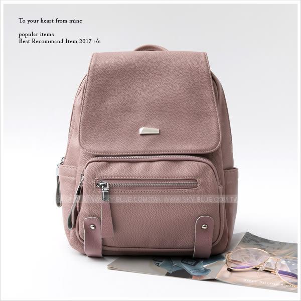 後背包-簡約金屬造型荔枝皮革後背包-共3色-A12121274-天藍小舖